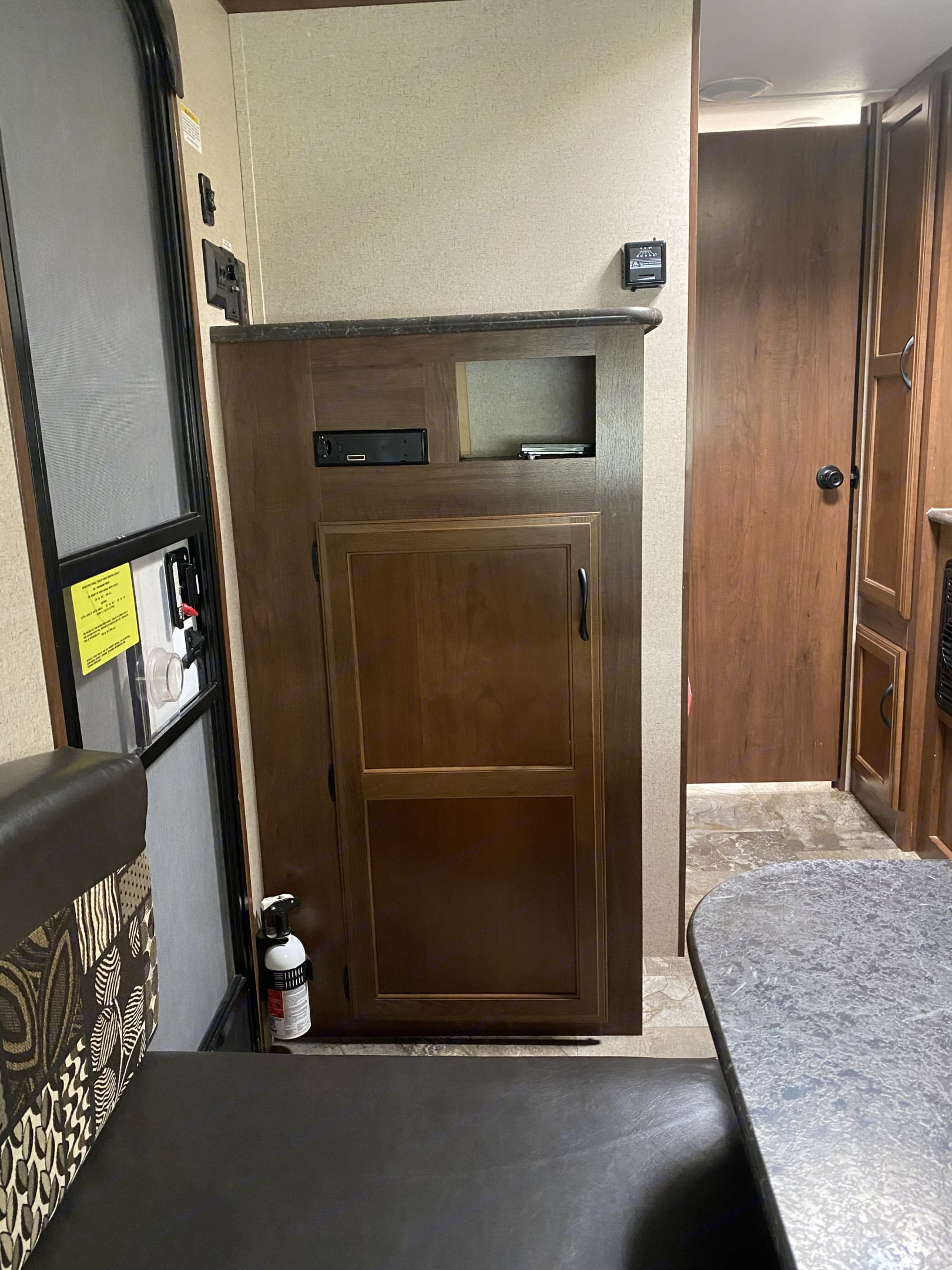 Entertainment center and bunk beds are behind it.. Jayco Jay Flight 154BH 2016
