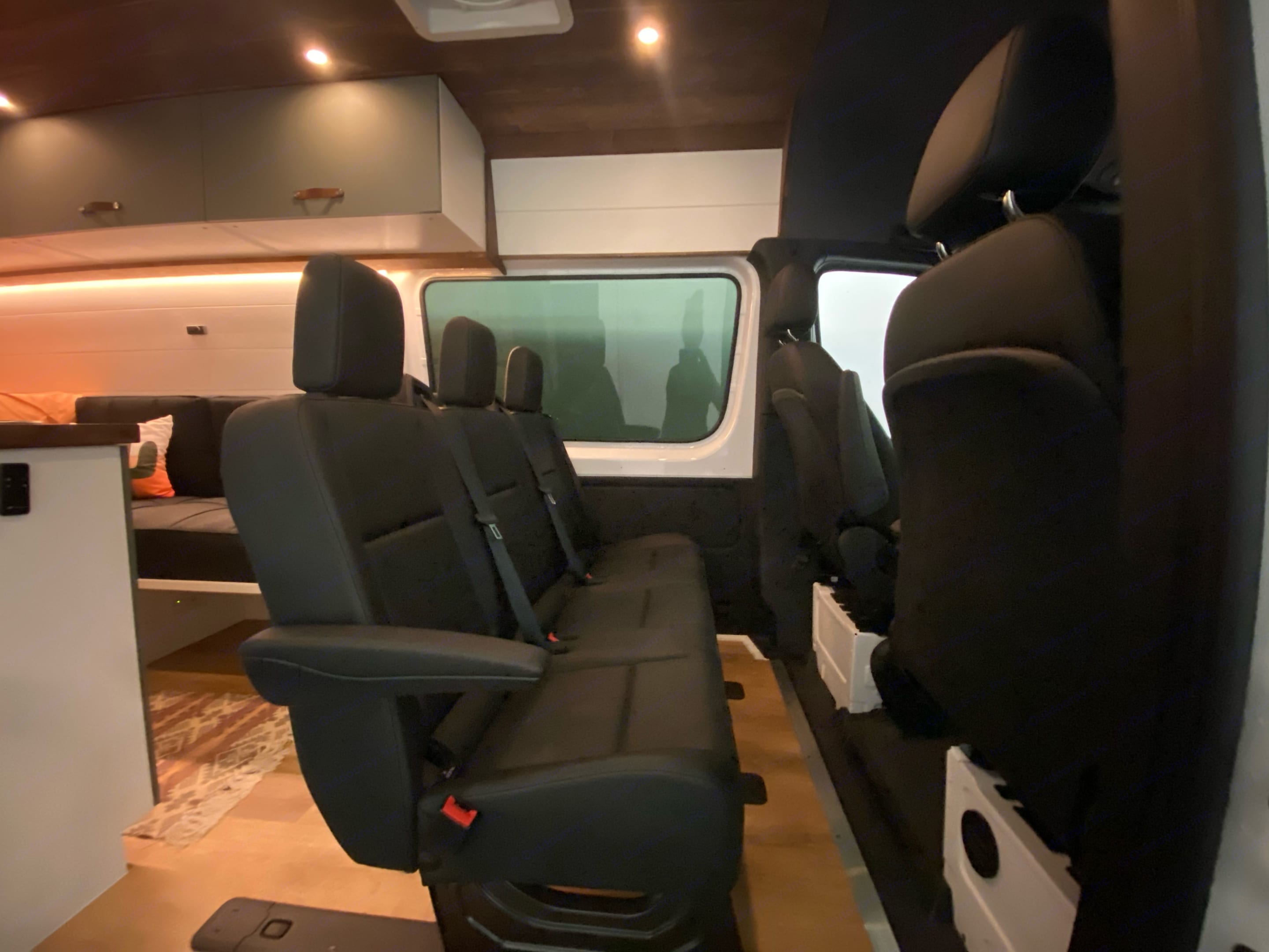 3 person bench, bench has two DOT approved child car seat clips. . Mercedes-Benz Sprinter 2019