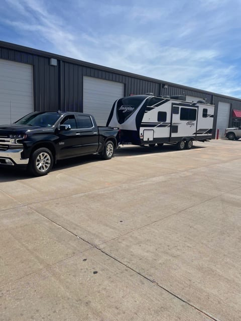 Half-ton towable with weight distribution hitch and at least 8,500 lbs. towing capacity.. Grand Design Imagine 2400BH 2020