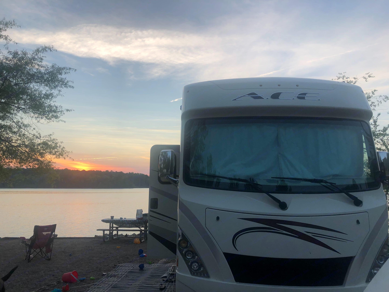 Kerr Lake, NC Beautiful Sunset. Thor Motor Coach A.C.E 2018
