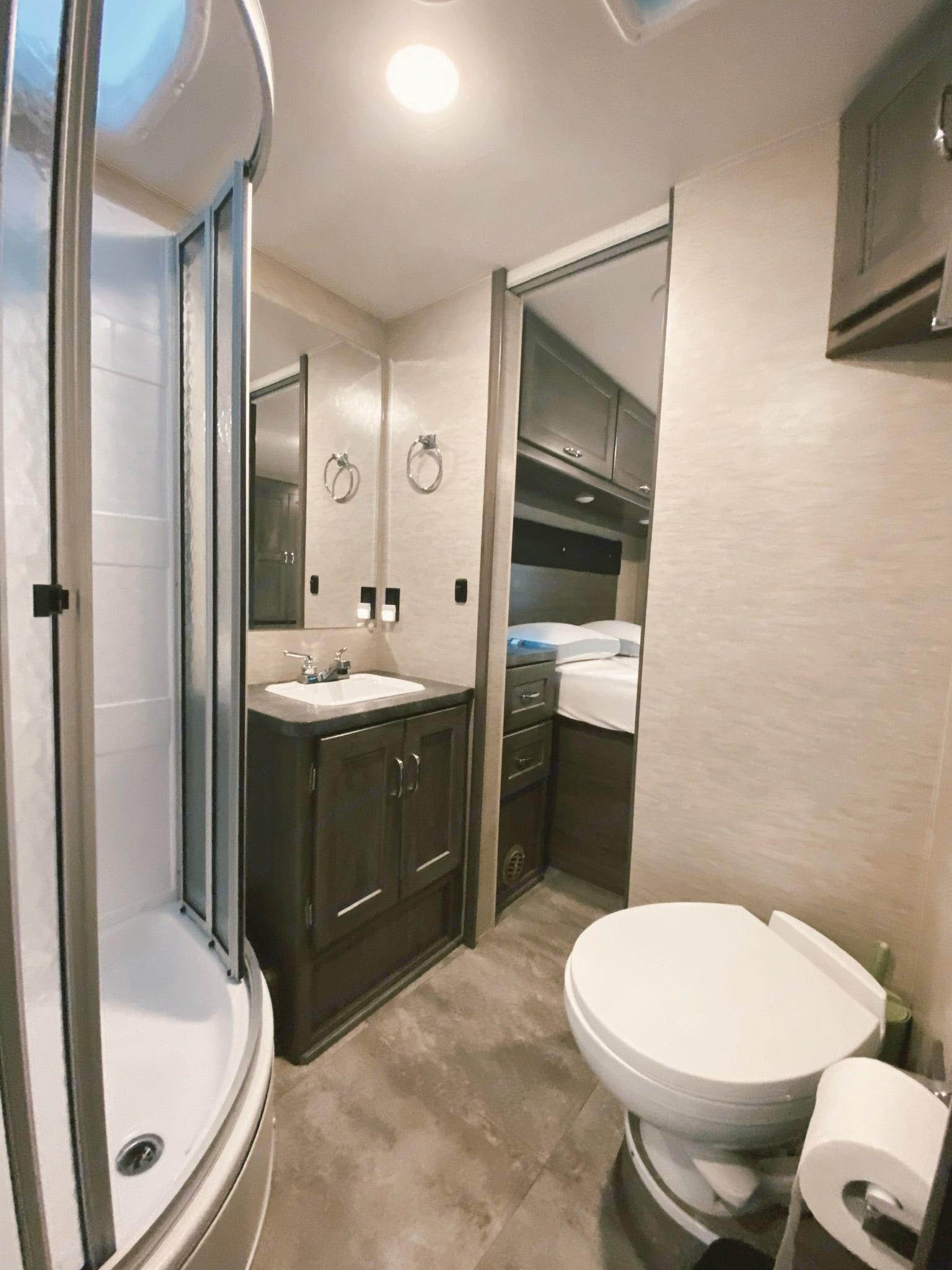 Bathroom to bedroom door.. Winnebago Minnie Winnie 2017