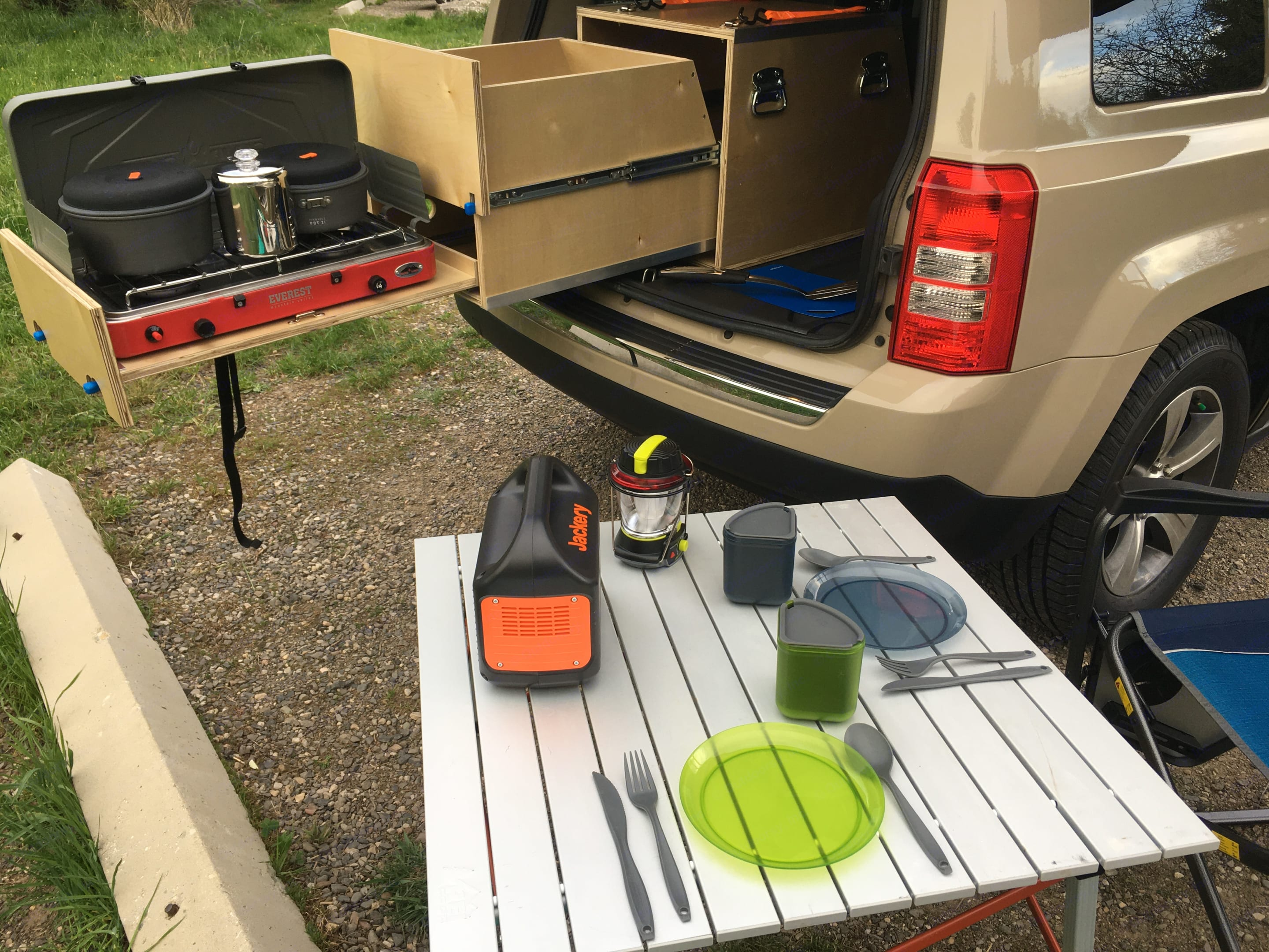 Everything you need is included.  We provide detailed instructions on roof top tent setup and a detailed equipment list.. Jeep Patriot 2016