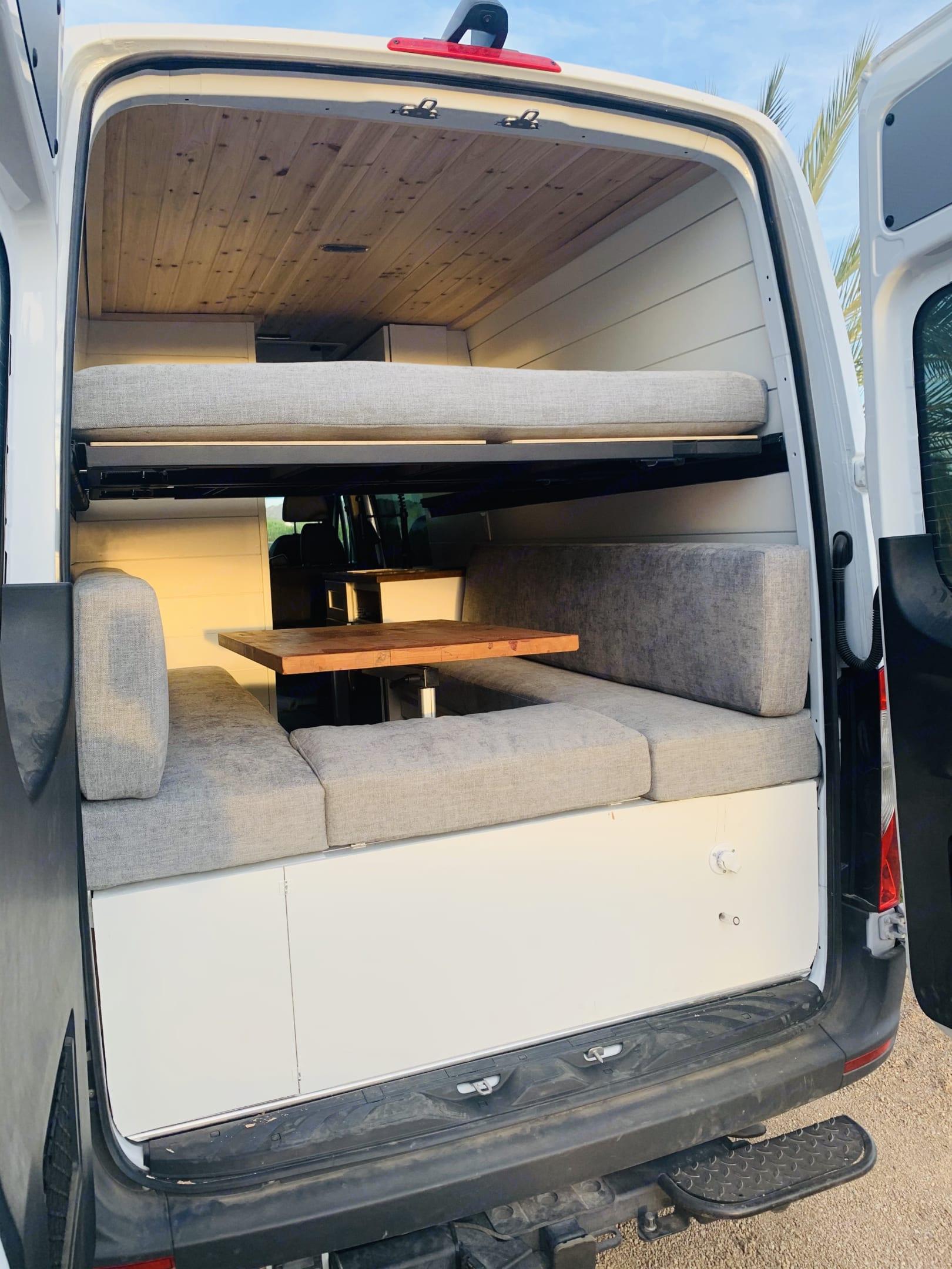 Dinette converts to a queen sleeper. Mercedes-Benz Sprinter RV Motorhome Campervan 2020