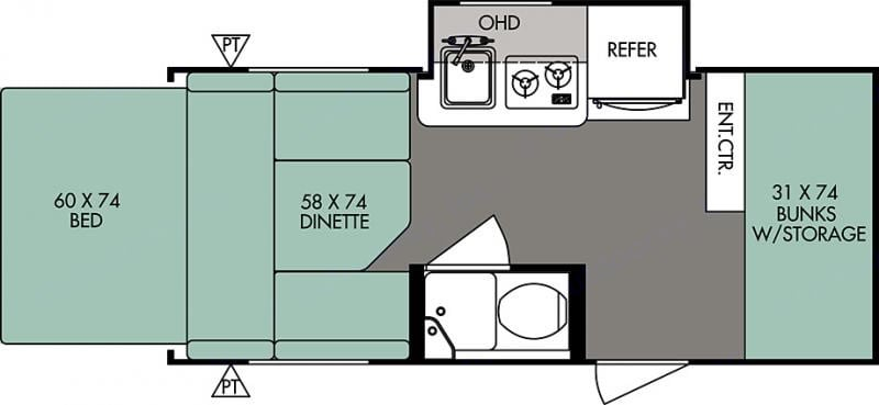 This is the floor plan of our trailer. It is worth noting that the main bed folds out the back side of the trailer in a tent. . Forest River R-Pod 2015