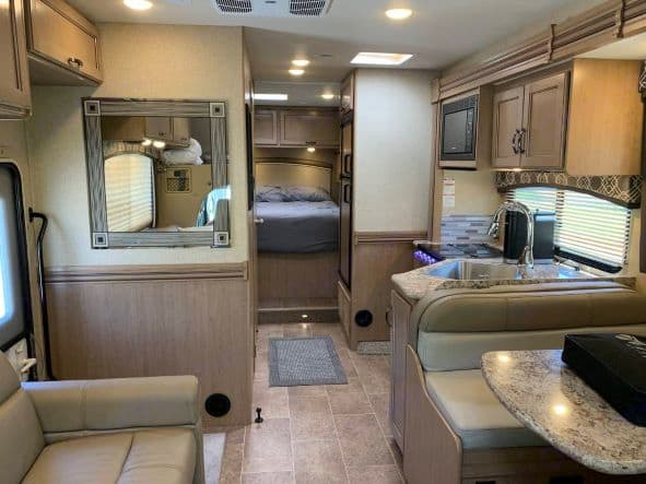 Enjoy this room, new and very functional main cabin. Thor Motor Coach Chateau 2019