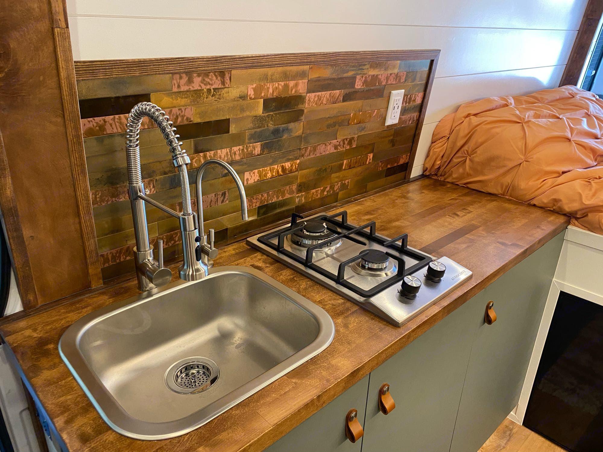 Butcher block counter top, copper back splash. Mercedes-Benz Sprinter 2019
