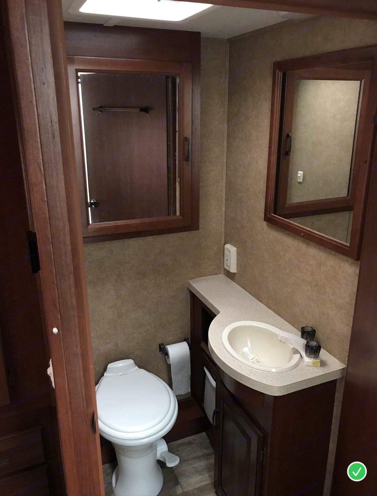 This Coach has a separate door for the toilet/sink.  Shower is located across the coach.. Forest River Sunseeker 2015