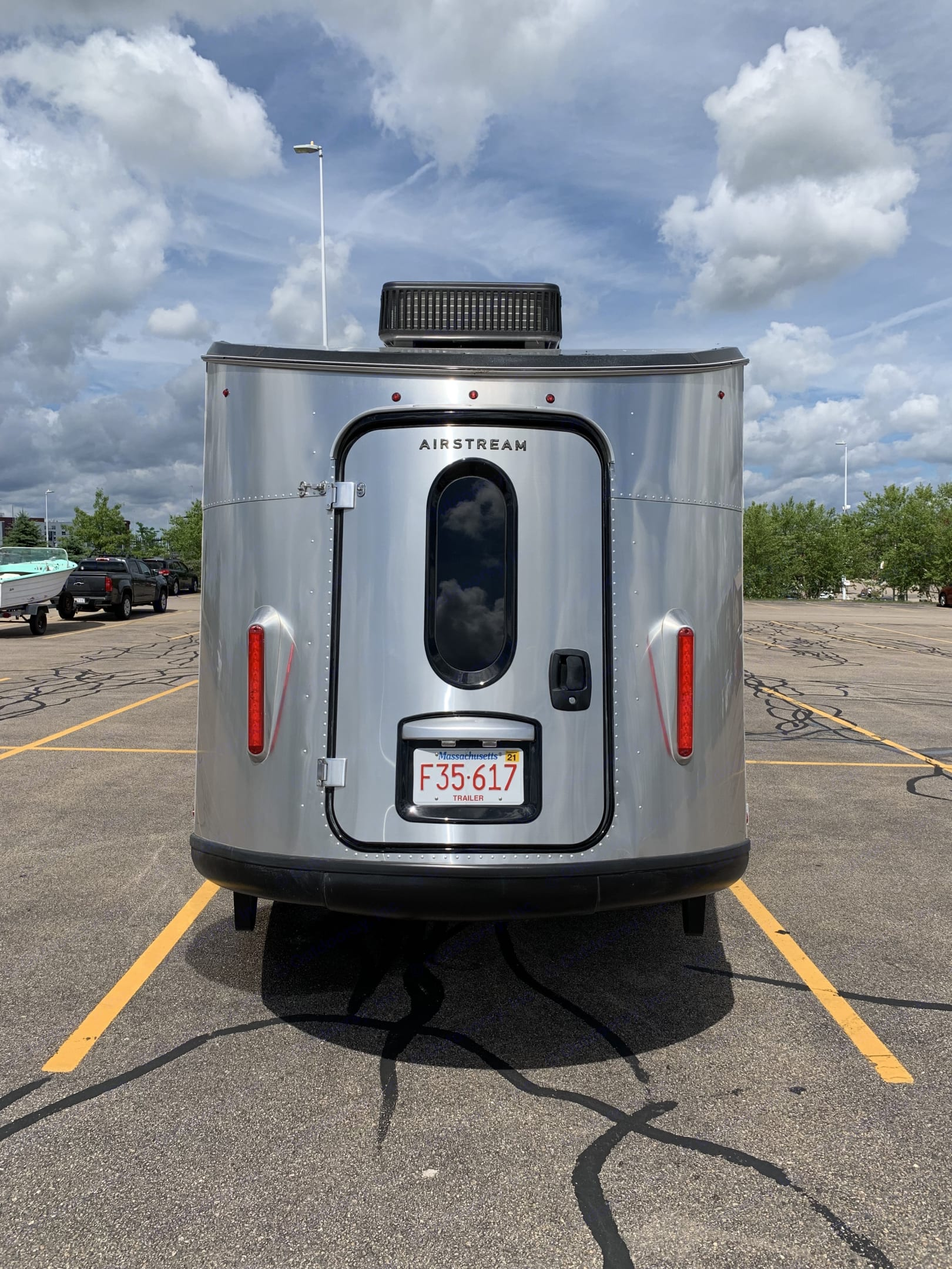 Large rear door great for loading gear. Open up while camping to join the great outdoors.. Airstream Base Camp 2021