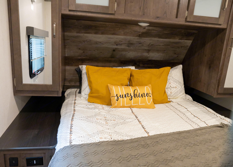 Comfy Queen Bed in the Bedroom. Keystone Passport 2020