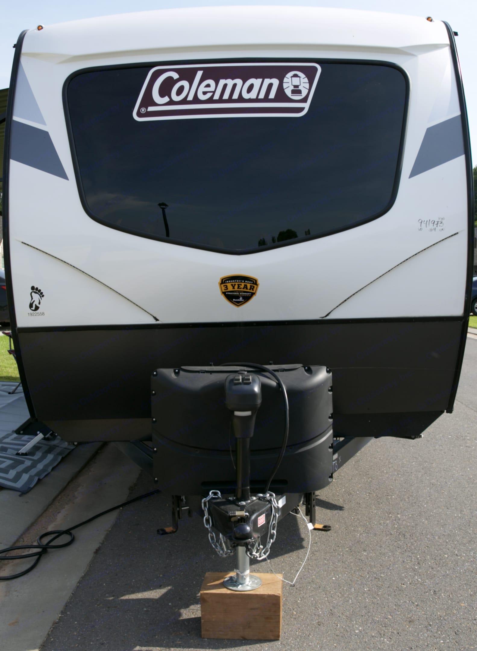 Front of camper, electronic camper jack. Dutchmen Coleman 2021