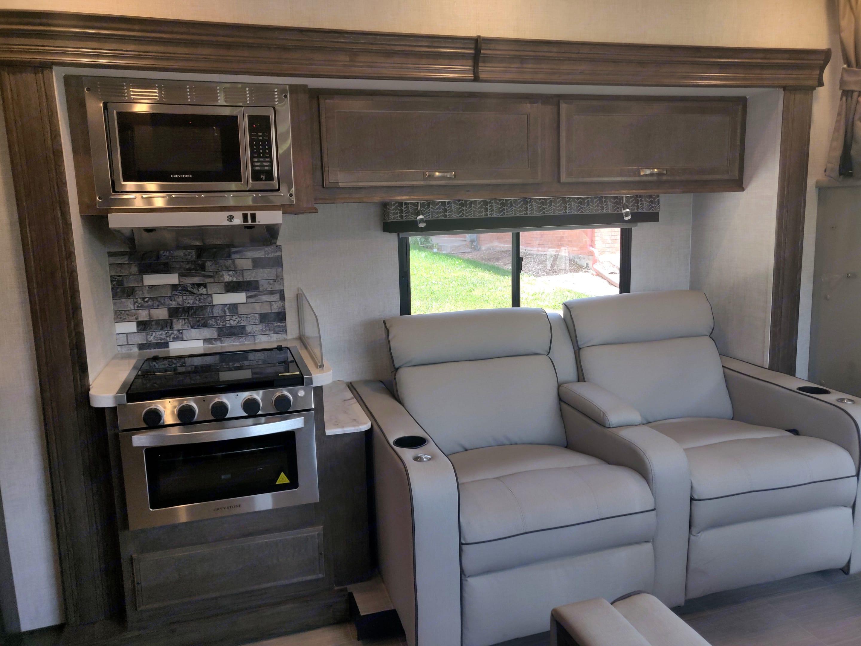 Super comfortable recliners w/seatbelts. Gulf Stream Conquest 2021