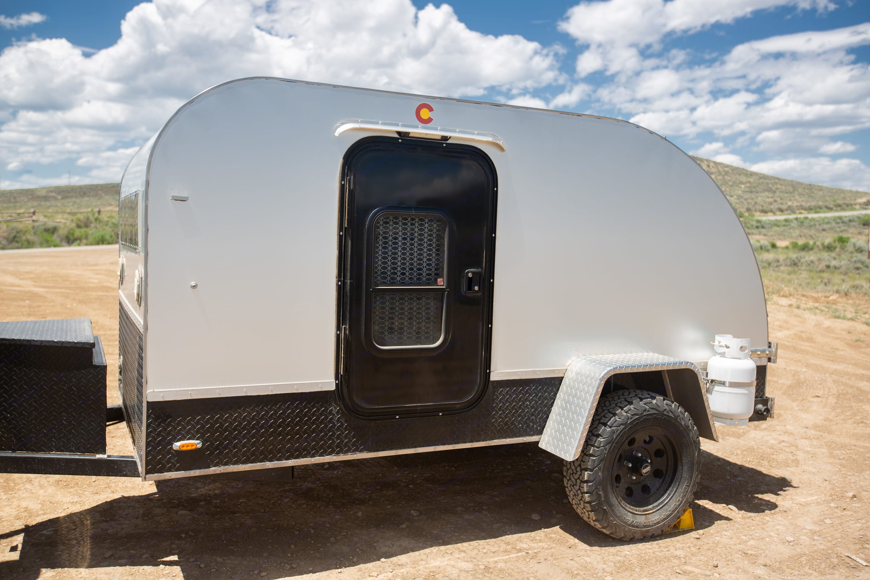 Exterior side with locked propane tank.. Colorado Teardrops Mount Massive 2017