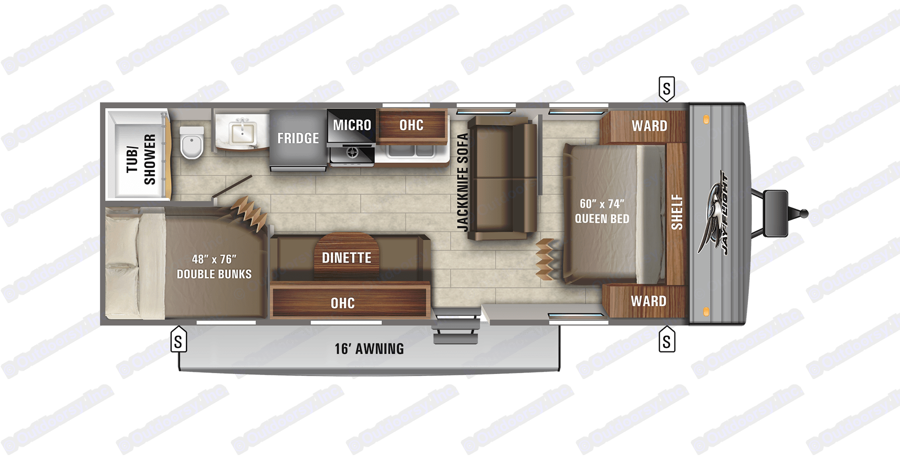 With bunk beds, queen bed, foldout couch and converting dinette, this RV floor plans ensure everyone has a place to rest.. Jayco Other 2021
