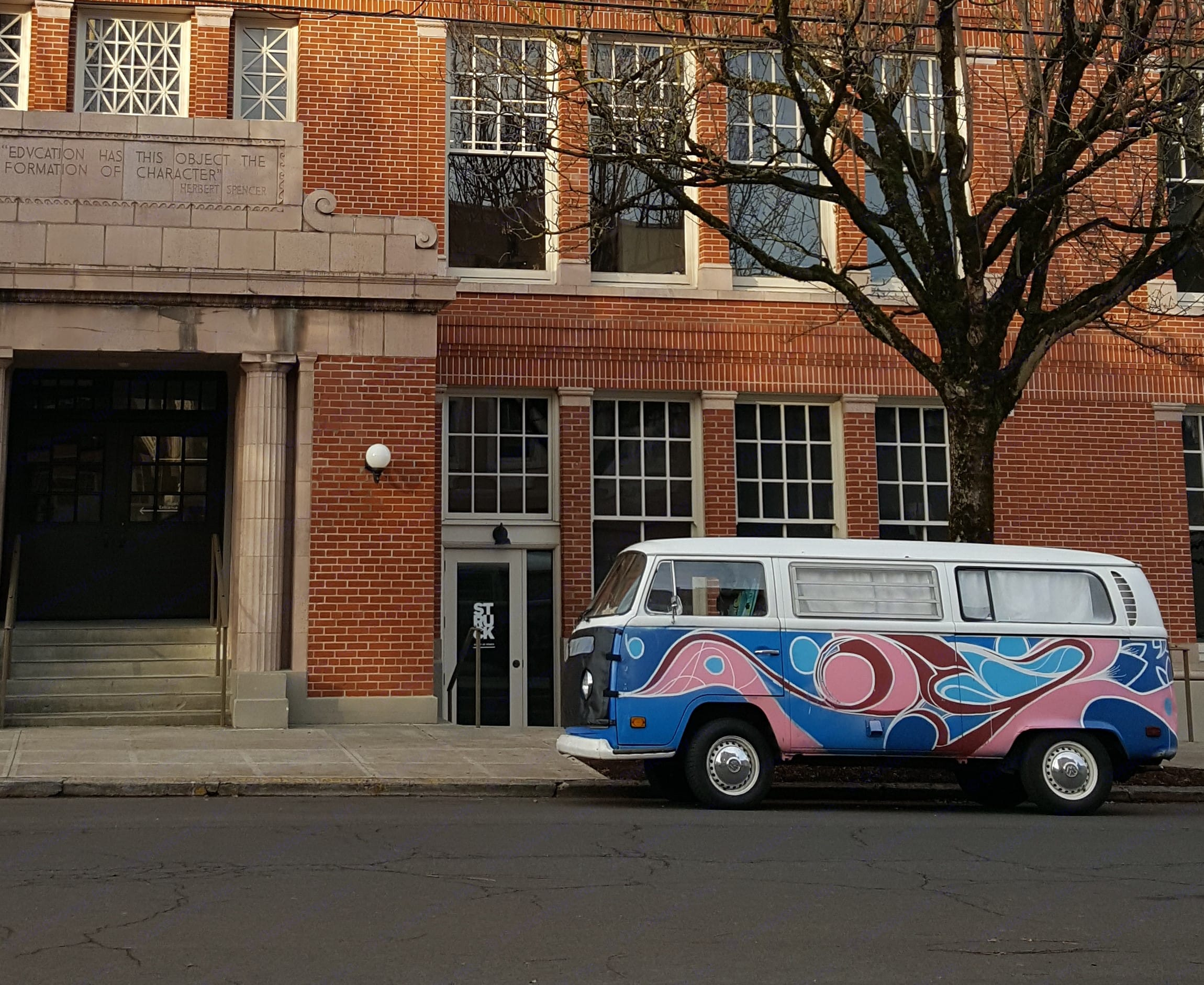 Blueray, your Vintage VW Bus, is pictured here in front of the iconic Revolution Hall.  Contact me today so you can have a VW Bus Adventure Tomorrow. . Volkswagen Westfalia 1971