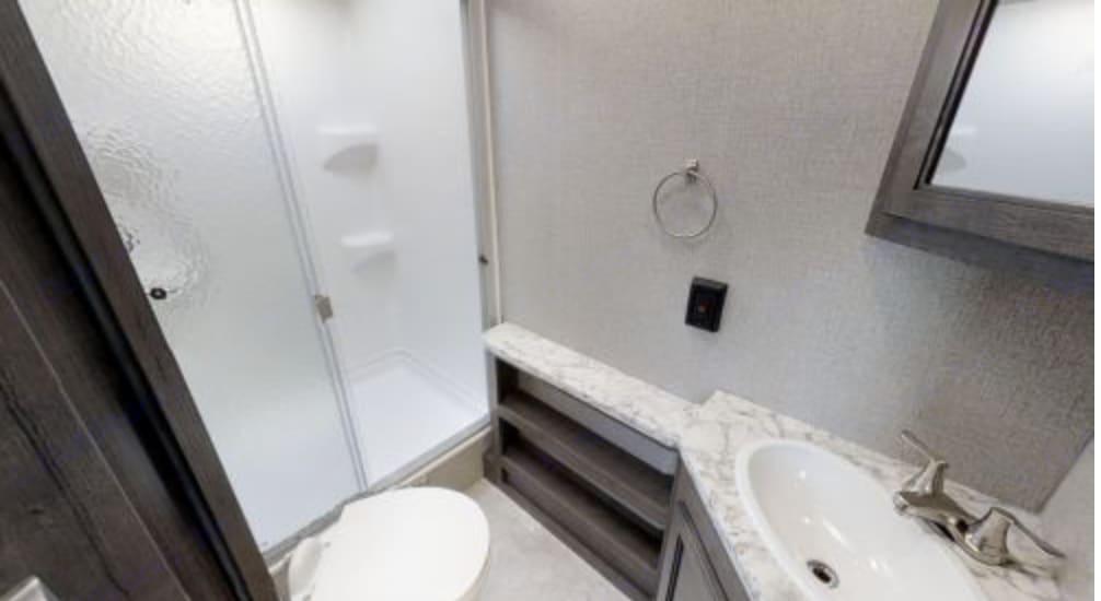 Shower in a full size shower! Plenty of room to get ready.. Jayco Jay Flight 2020