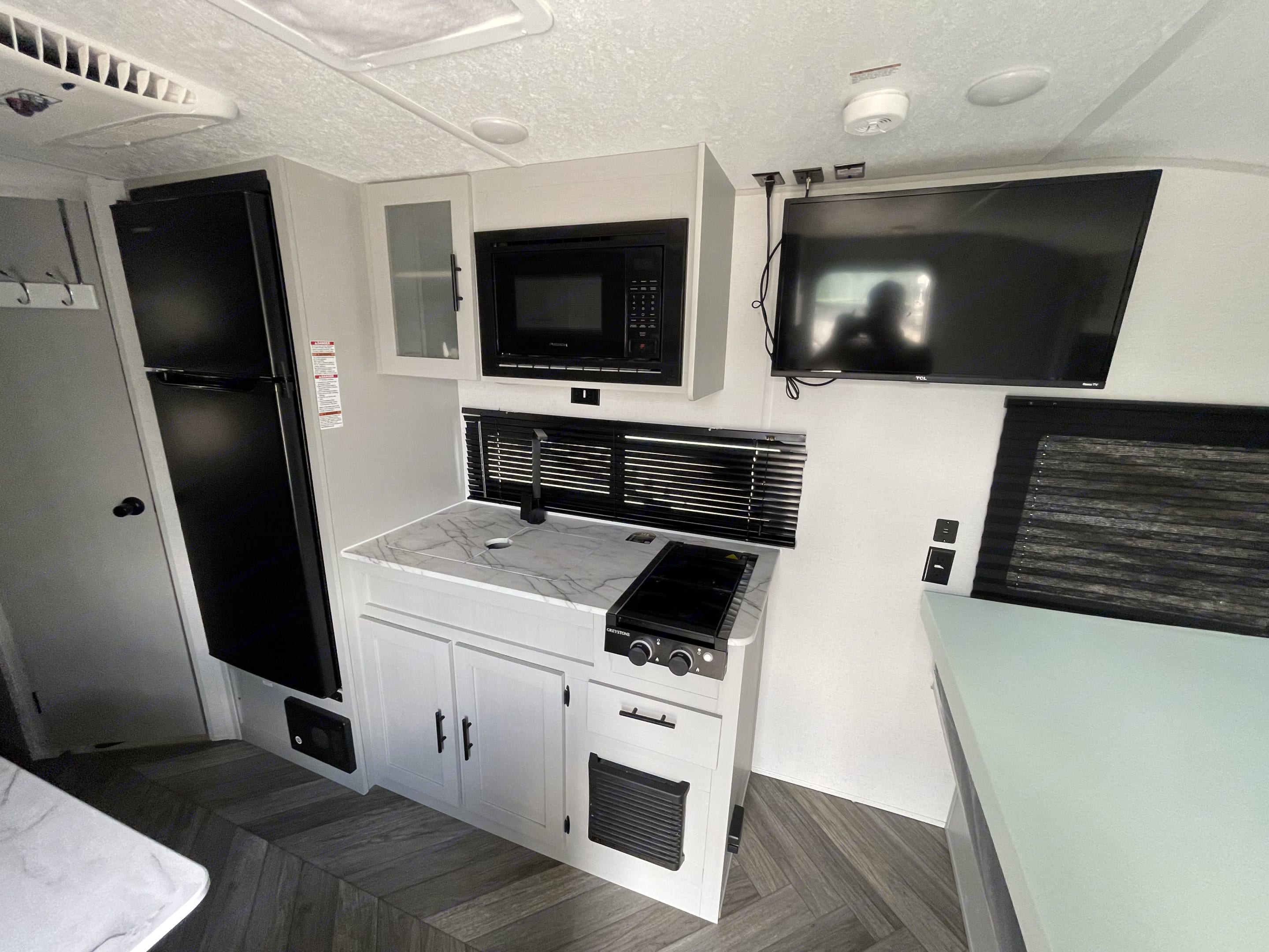 Great sized fridge, and freezer. Propane stove and great size kitchen sink. Forest River Salem 2021