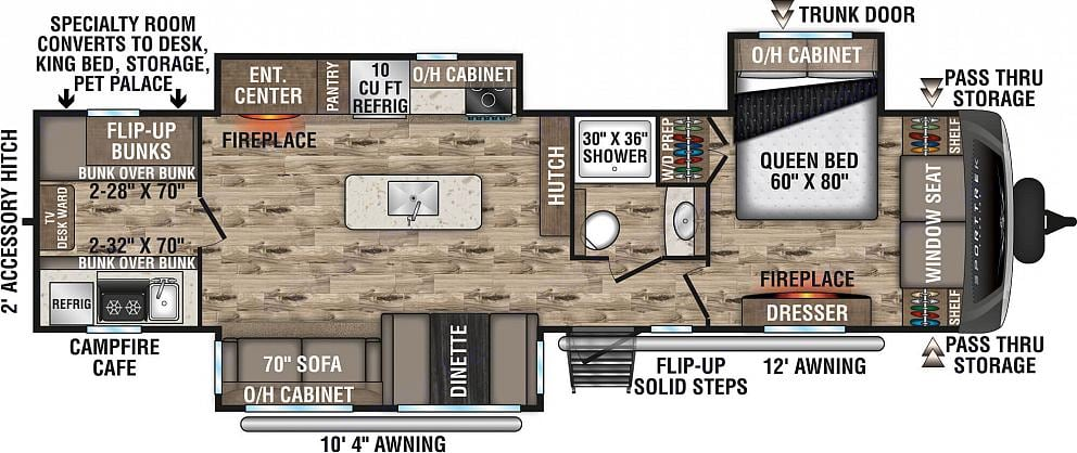 3 Slides give spacious master, kitchen, living + bunkhouse!. Venture Rv Sporttrek 2021