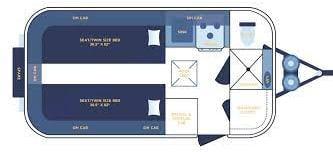 Casita Independence Floorplan, with twin beds, kitchen, bath, closet and storage . Casita Independence 2017