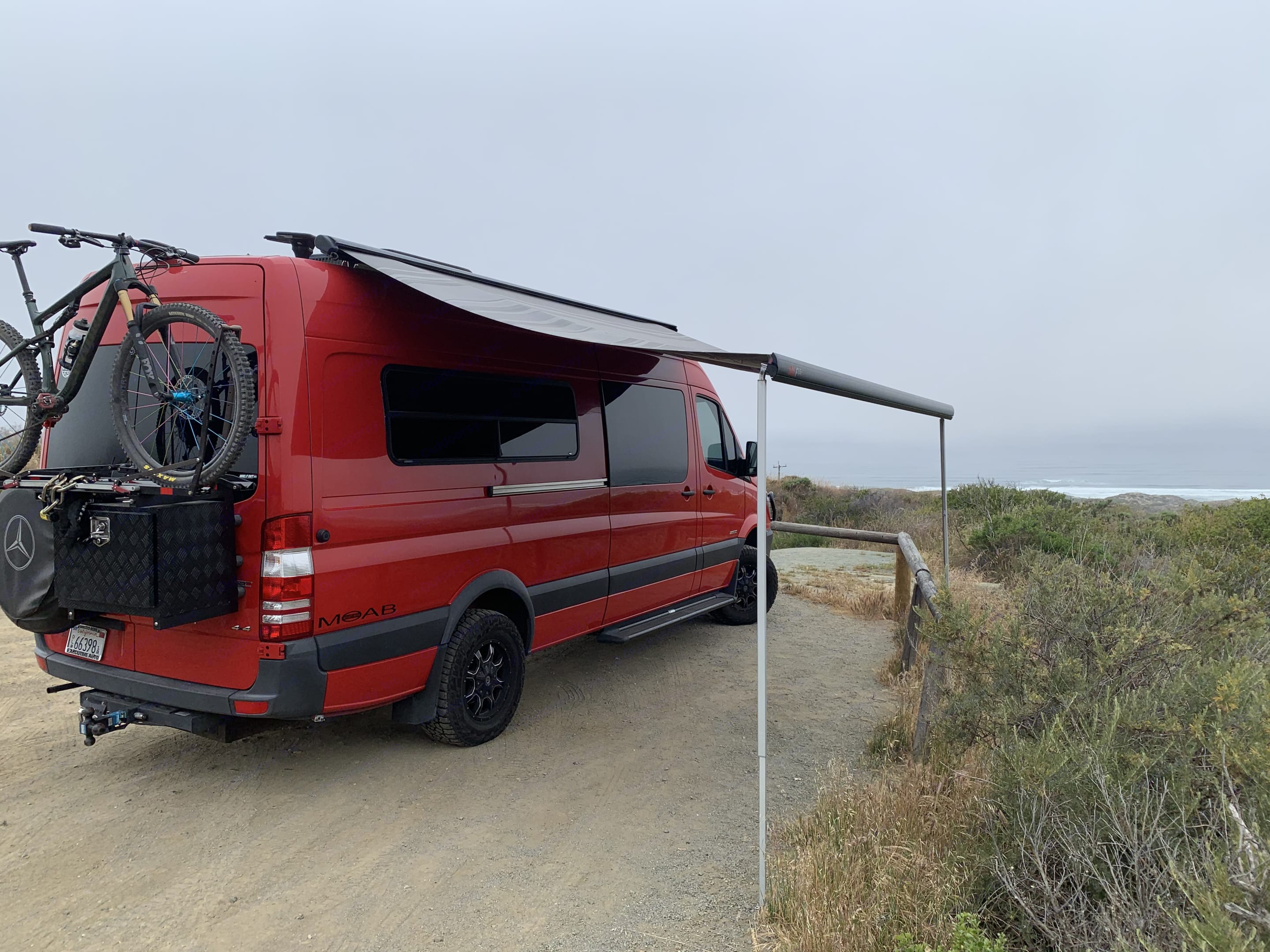 Awning extended... Bike rack in use. Mercedes-Benz Sprinter 2016