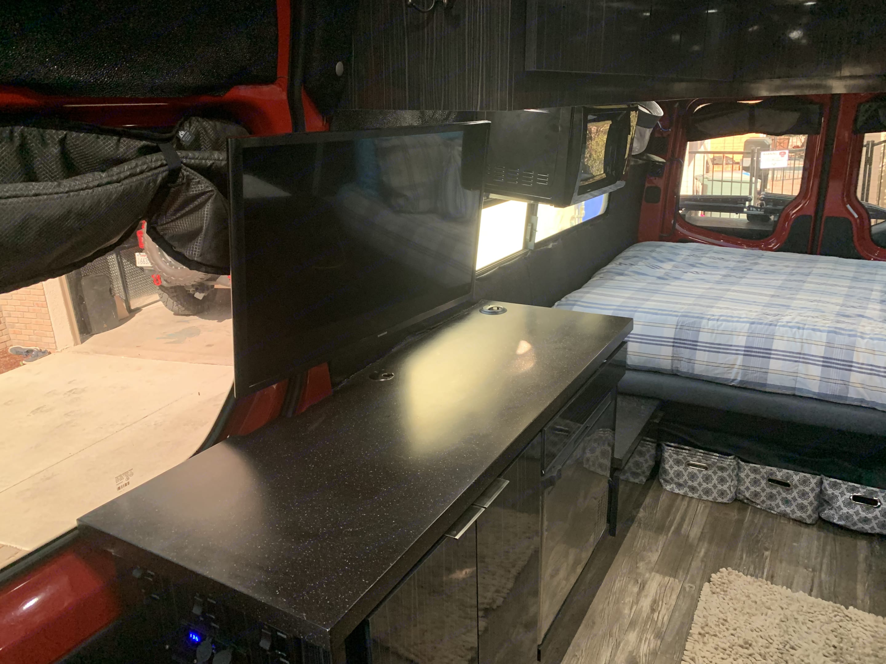 Lots more storage, Refer and TV with Cell Phone Booster overhead. Mercedes-Benz Sprinter 2016