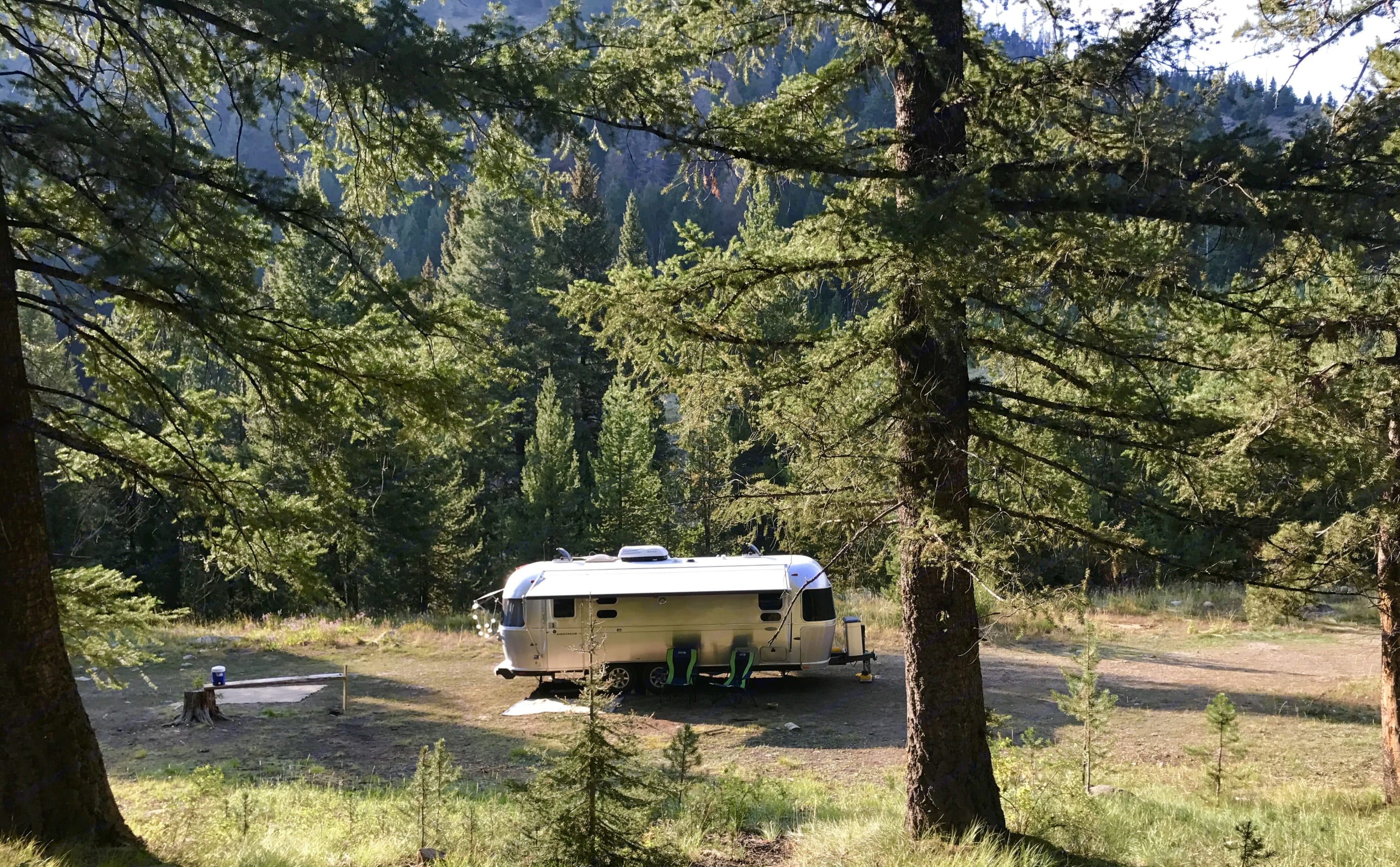 Awning extended for shade. Airstream Flying Cloud 2014