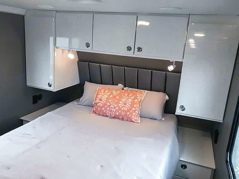 Master bedroom P.C: ATC Official. ATC Toy Hauler Game Changer Pro Series 2021