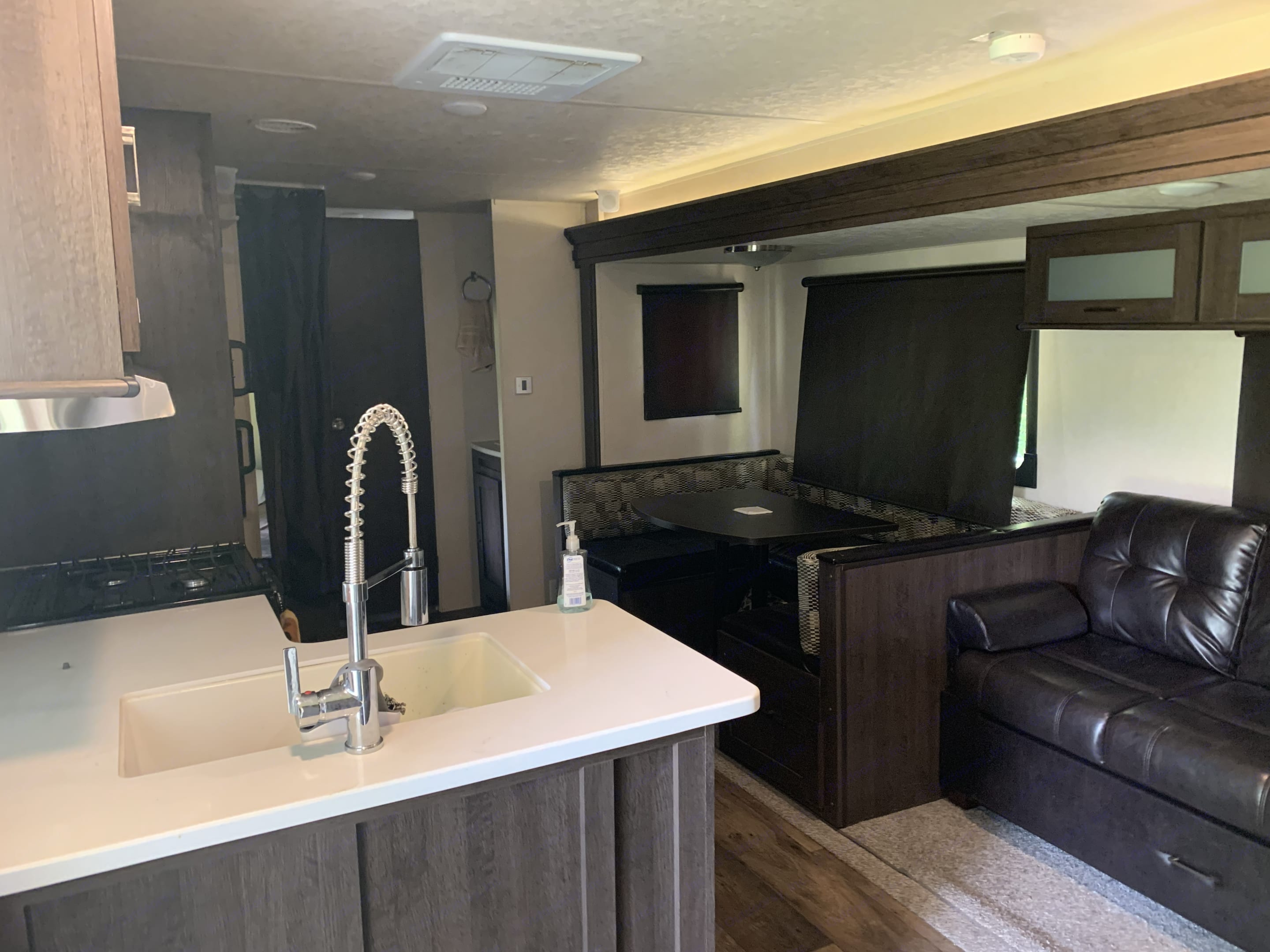 Spacious kitchen area with super slide. Forest River Wildwood 2018
