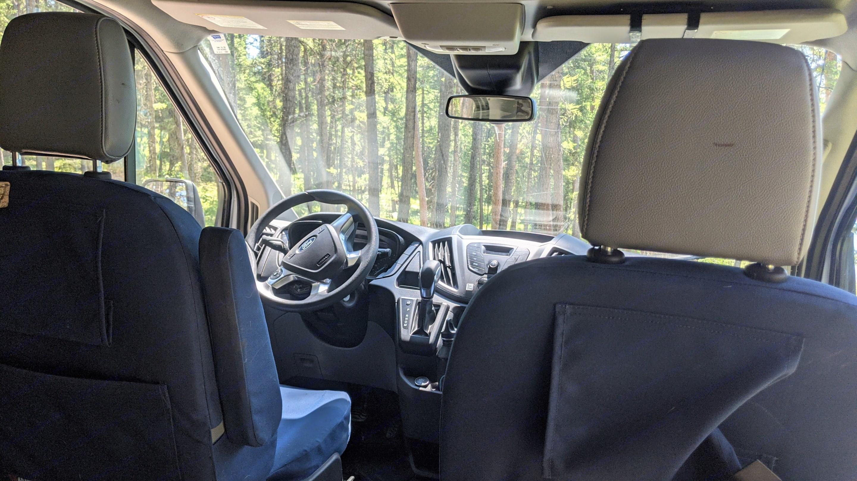 Full 180 degree swivel driver and passenger chairs await. . Ford Custom Transit 2019
