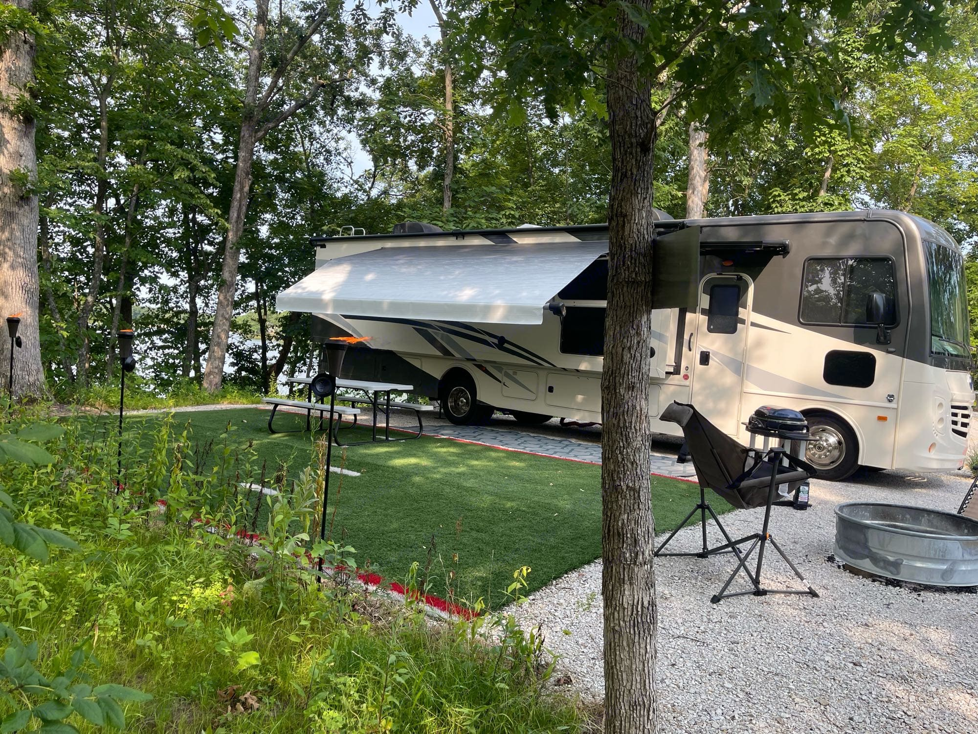 Lighted awning extended. Holiday Rambler Admiral 2020