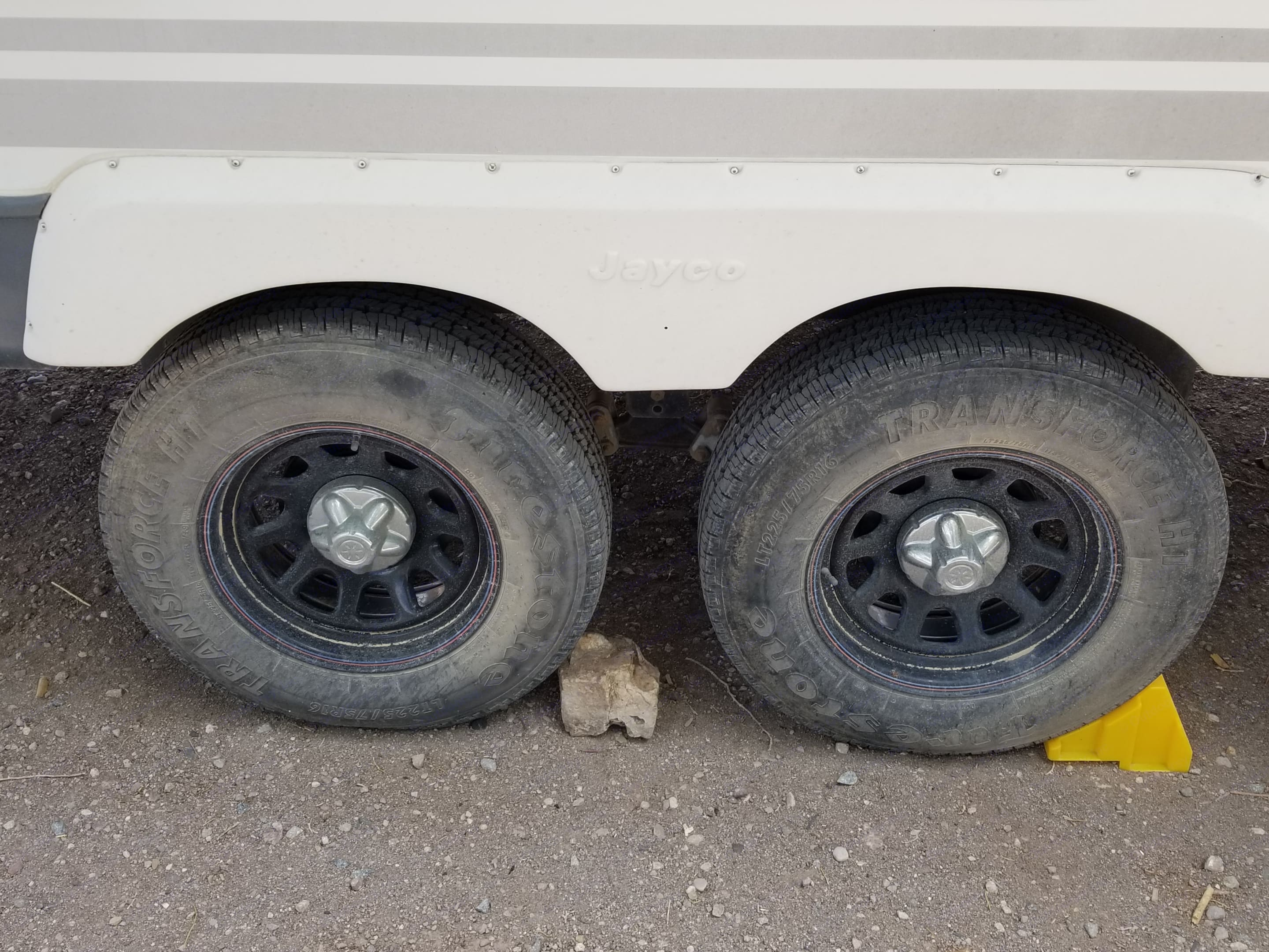 Flipped axles for more clearance. After market rim's for more stability.. Jayco Jay Flight 2007