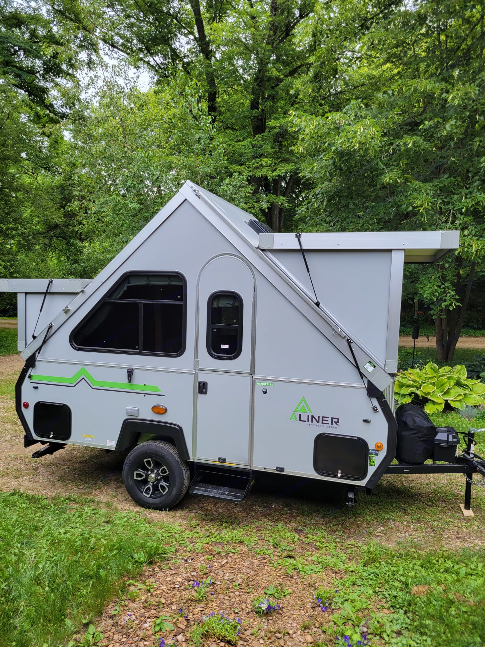 15 ft overall 12 foot cabin all set up with 4 windows that open with screen and 12 volt roof fan beats a tent any day of the week!. A-Liner Ranger 2021