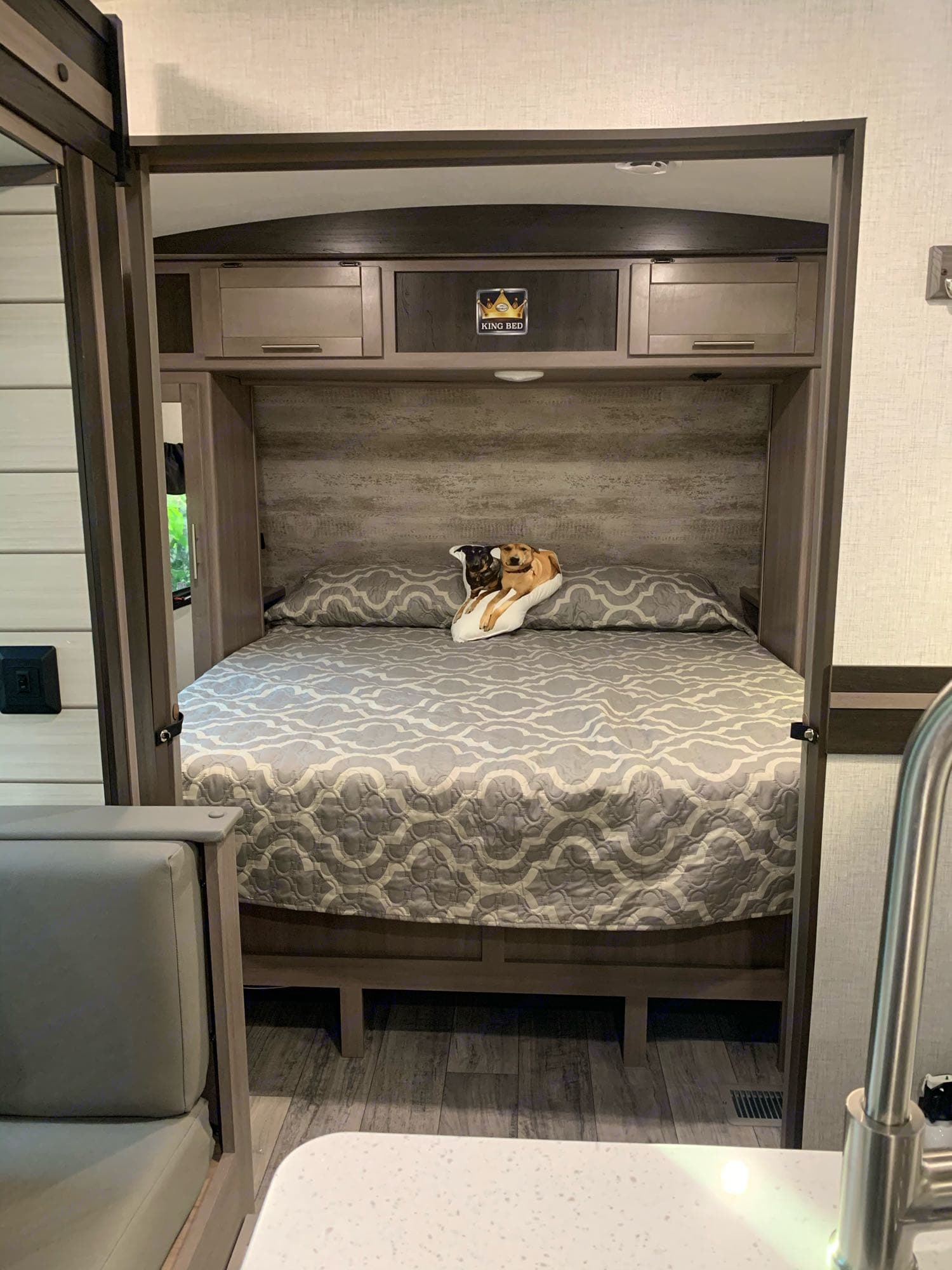 Front bedroom with pocket doors for privacy. King size bed. Crossroads Other 2021
