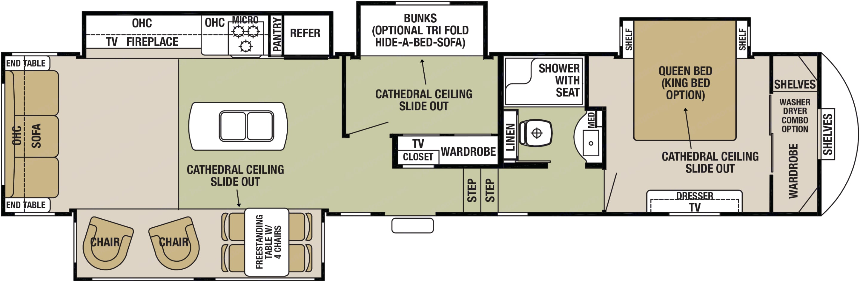 2 bedroom layout. Sleeps 8: 2 in the Master Bedroom, 2+2 (2 small kids on bunk bed) in the second bedroom, and 2 on fold-out sofabed in living room.. Forest River Cedar Creek Fifth Wheel 2016