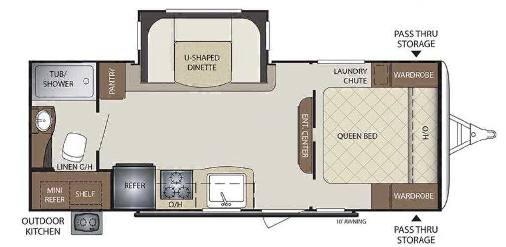 In the floor plan we can see the outside shower head and the electric awning that are available too. Keystone Bullet 2019