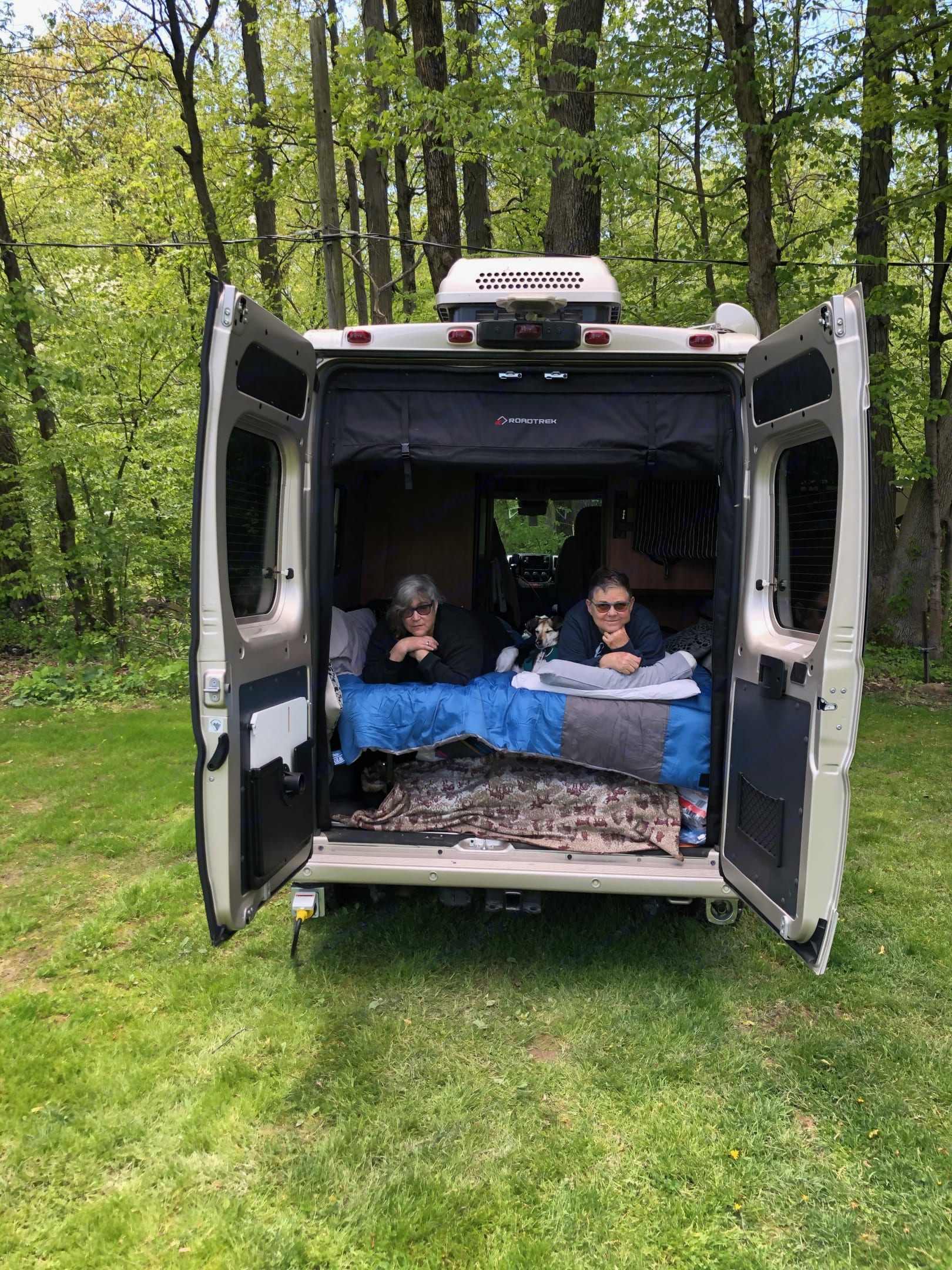 Enjoying the view at a campsite in rural New Jersey.. Roadtrek Promaster 2021
