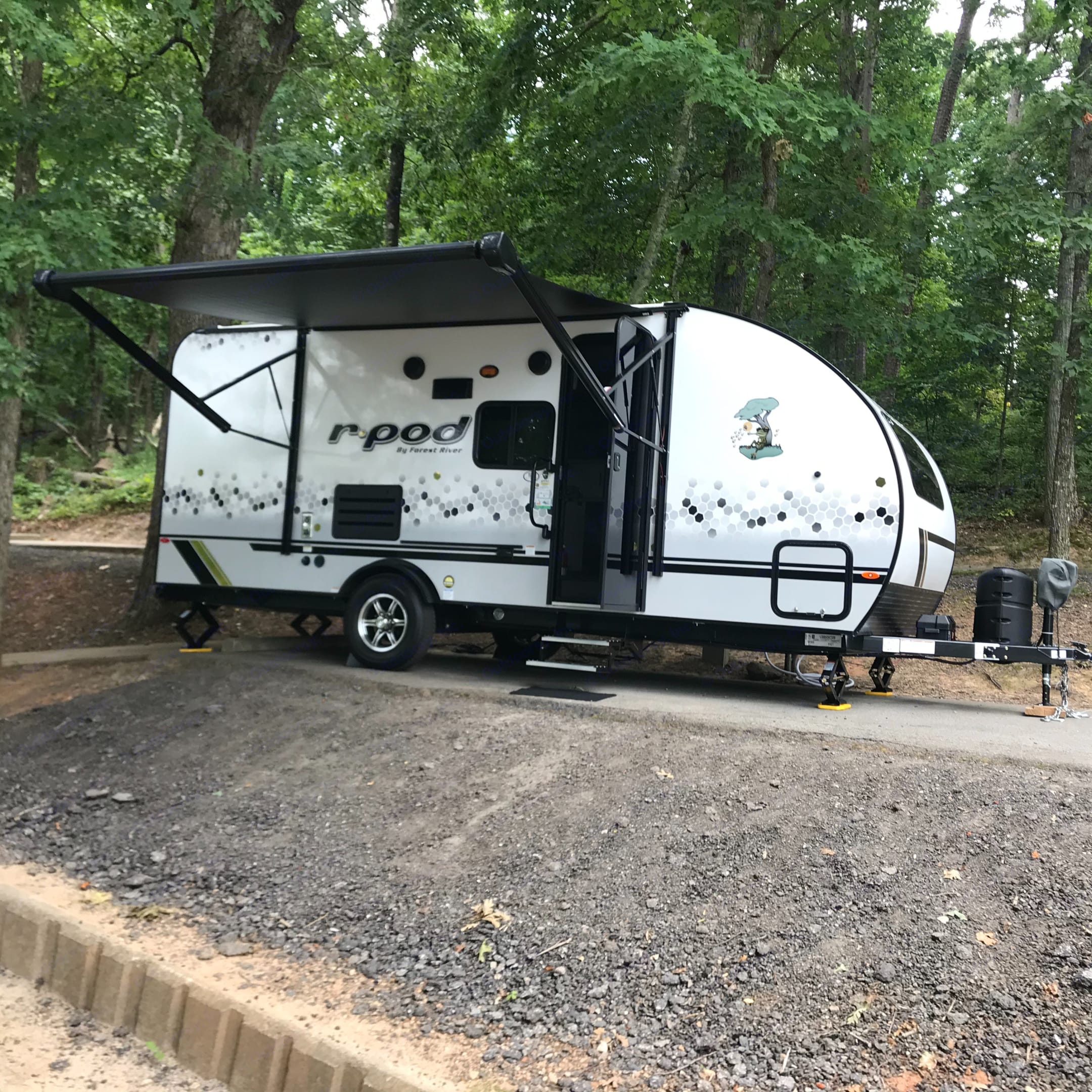 Power Awning out. Stairs out. Nice Alloy Wheels! Nice side Graphics! . Forest River R-Pod 2021