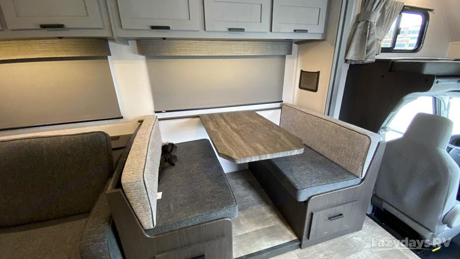 Comfortable and flexible dinette that folds into a sleeping area. Two seatbelts here are suitable for child seats. (We put two here for our daughters). Forest River Solera 2021