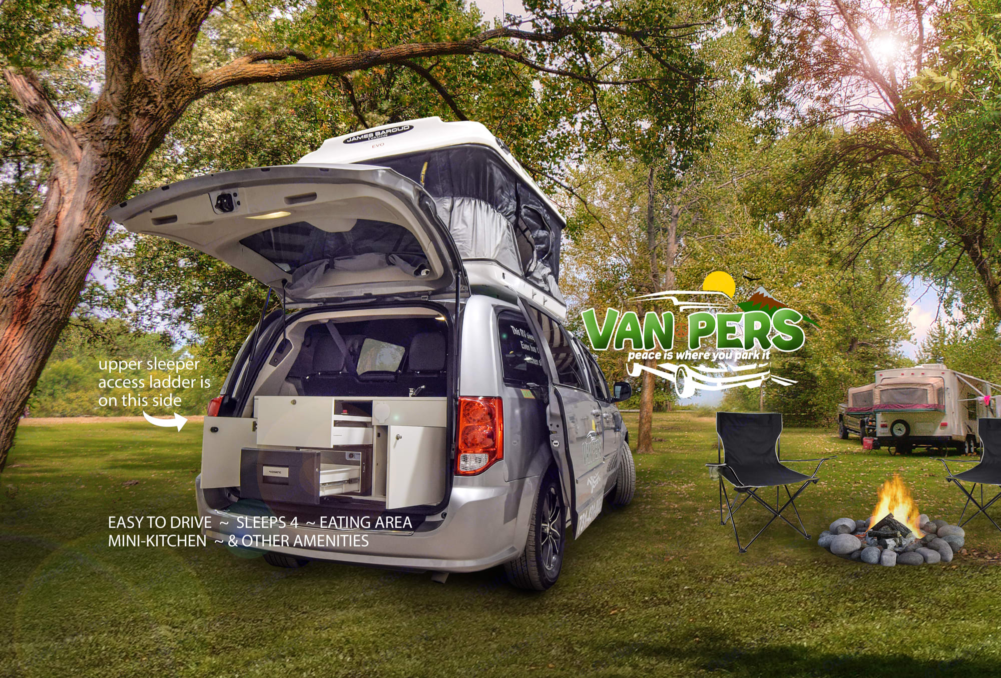 This is the one you've been looking for! Easy to drive, park, and pop-up, so you can spend time ENJOYING your getaway! . Dodge Caravan 2018