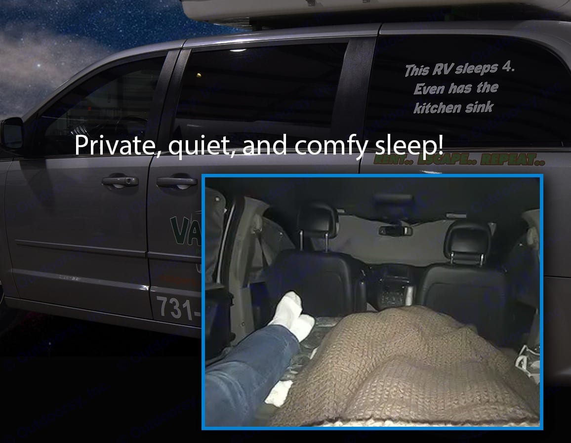 Private, quiet, and comfy sleep inside for 2, fold down, stretch out, and get a great night's sleep.. Dodge Caravan 2018