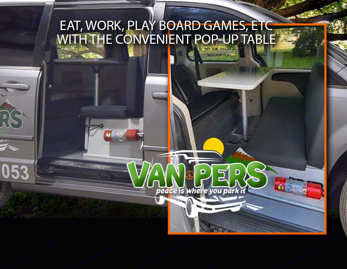 Eat, work, play board games, etc with the convenient pop-up table.. Dodge Caravan 2018