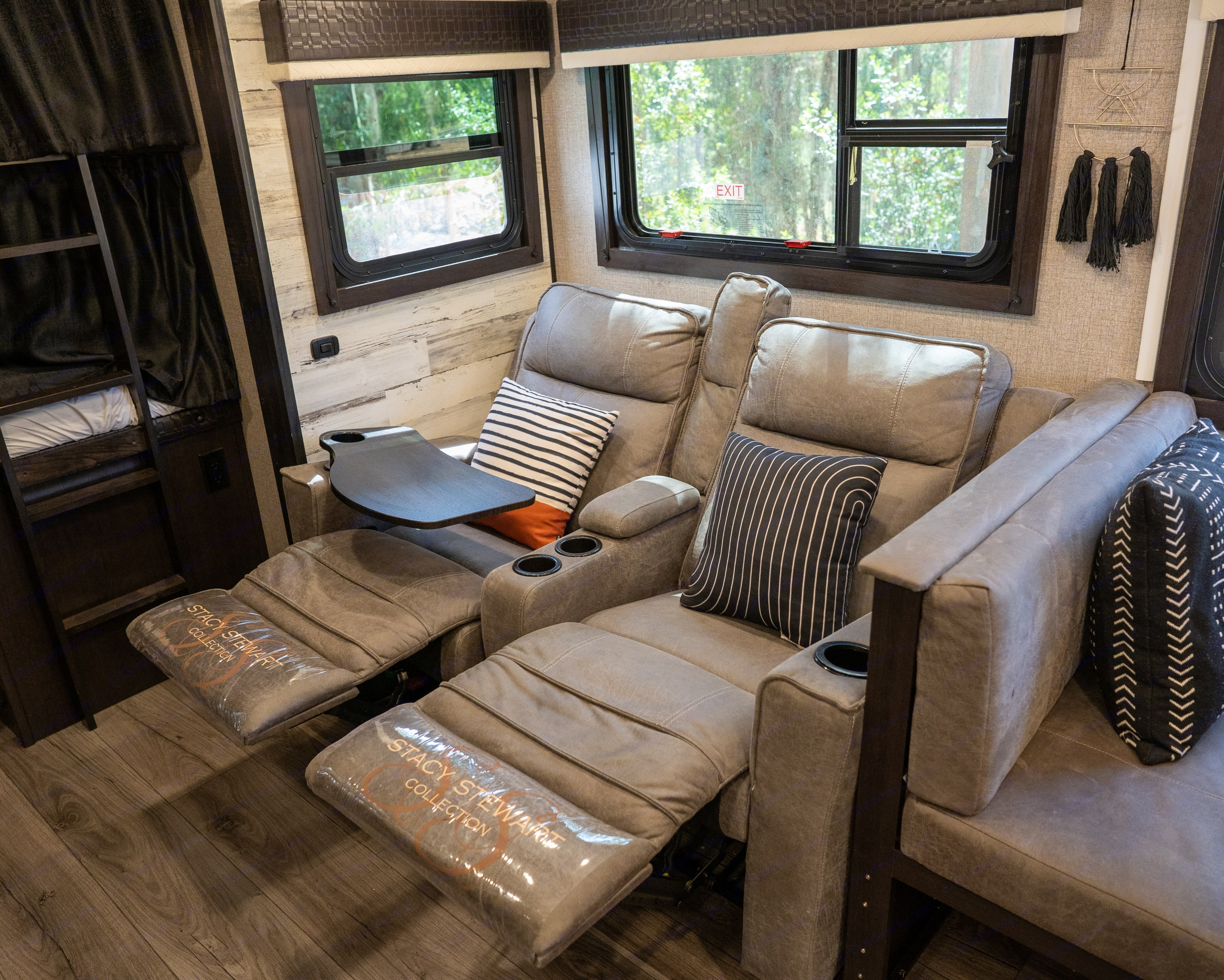 Super comfy fully reclining theater chairs with TV dinner trays . Jayco Jay Feather 2021