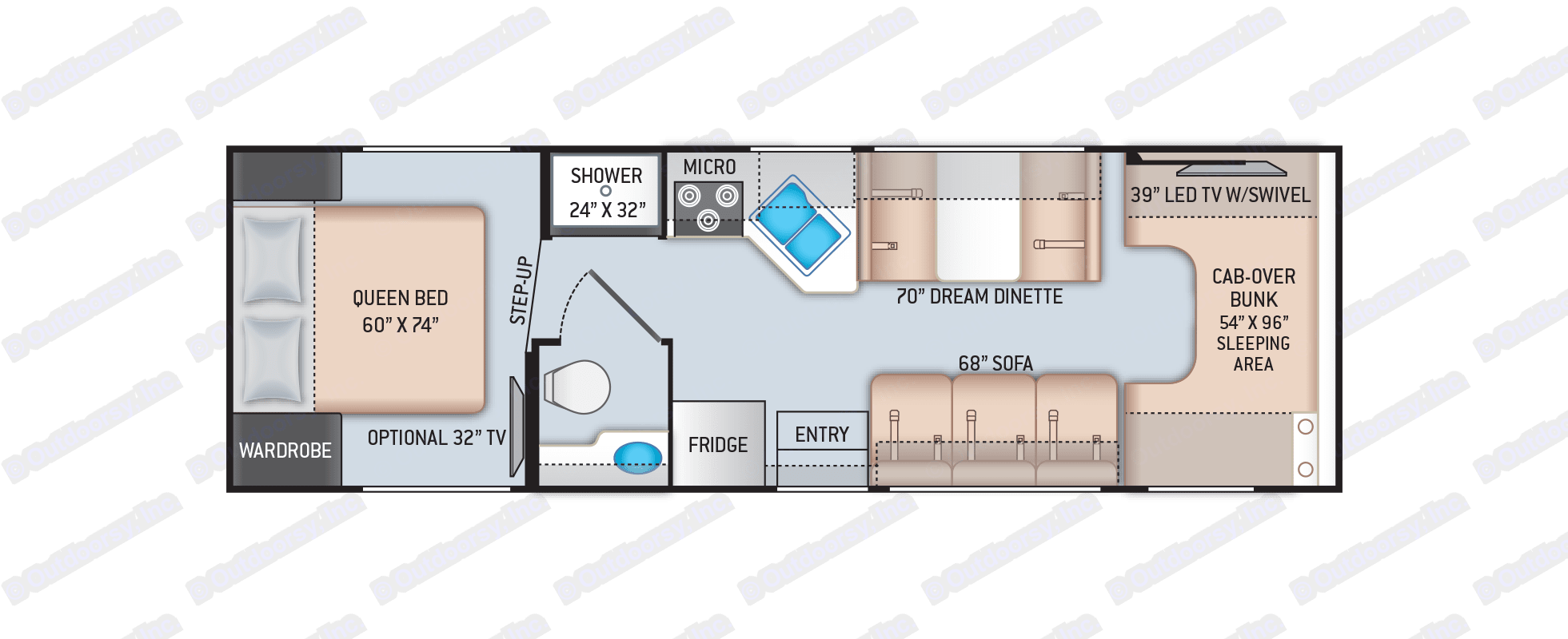 Open floor plan keeps entire coach accessible to your family on the road.. Thor Motor Coach Four Winds 2020