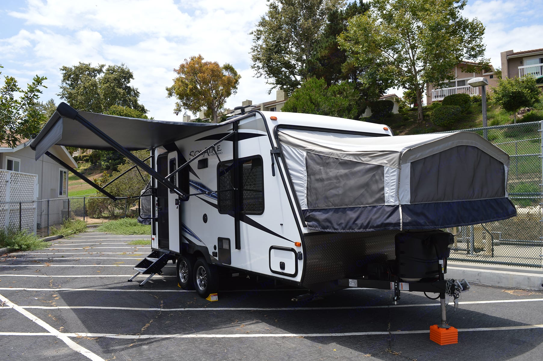 Front bed and Awning extended. Palomino Solaire Expandable 2020