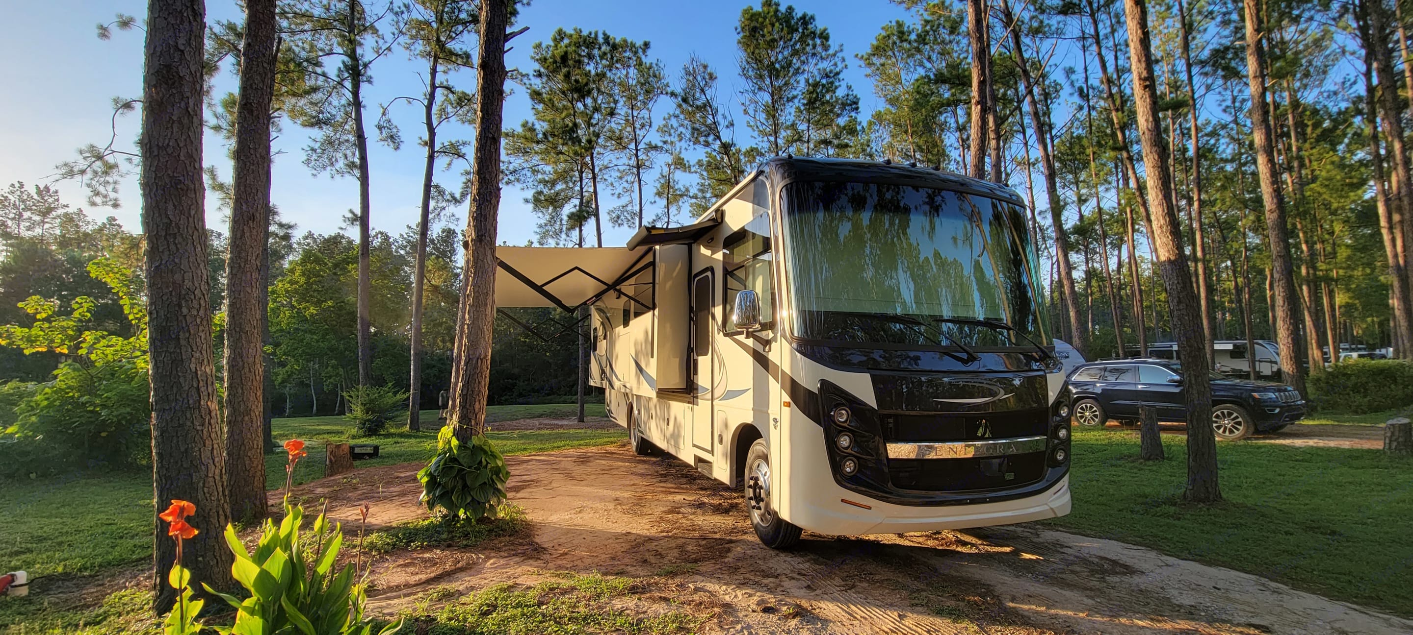 The exterior awnings provide comfort from the elements and come with led lighting for night gatherings!. Entegra Coach Other 2021