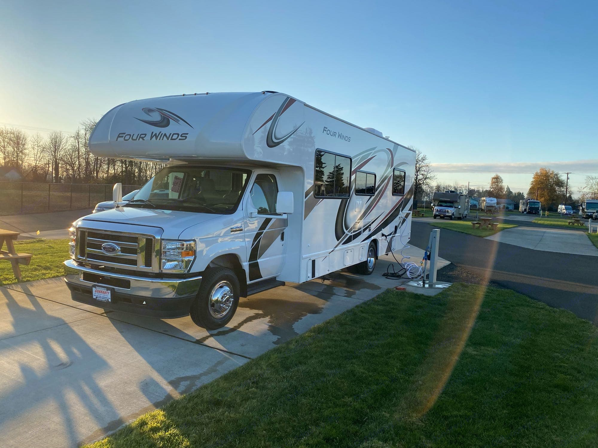 The front view of Hanna, a 2021 Thor Four Winds 28a. no Slideouts, 29 foot Class C RV. easy to drive!. Thor Motor Coach Four Winds 2021
