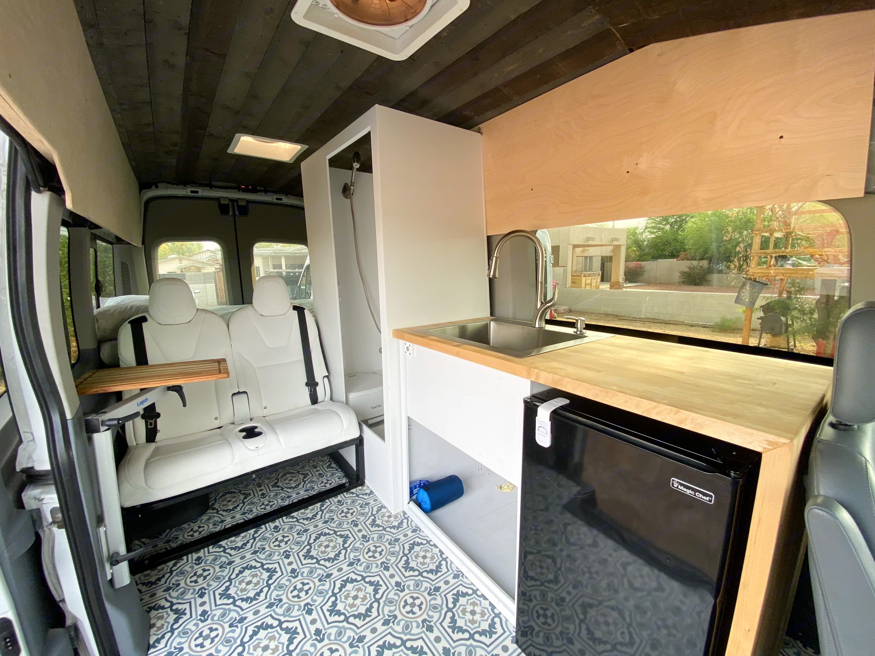 Butcher Block Counter, Large Sink, Indoor Shower, and more. Ford Transit 350 HD 2017