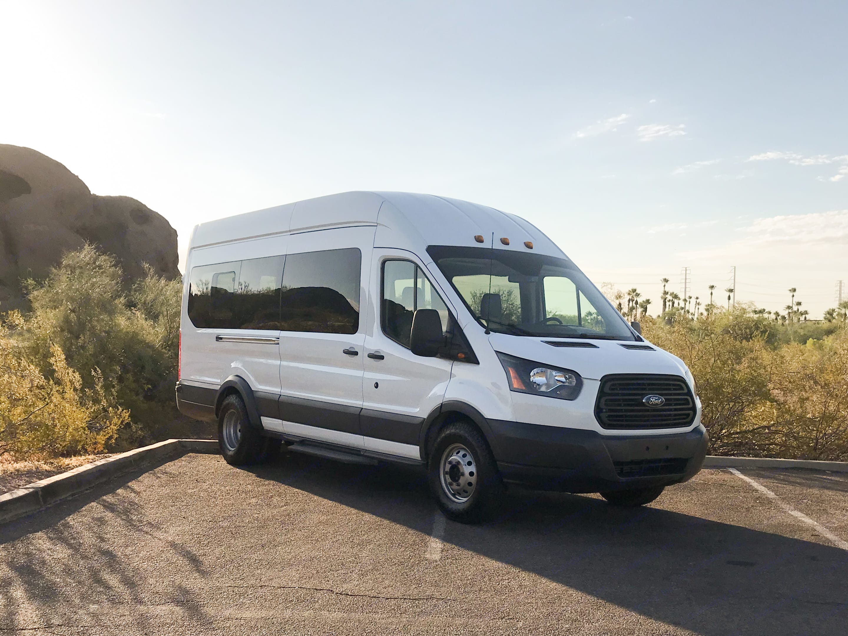 Aerodynamic exterior that loves posing for pictures. Ford Transit 350 HD 2017