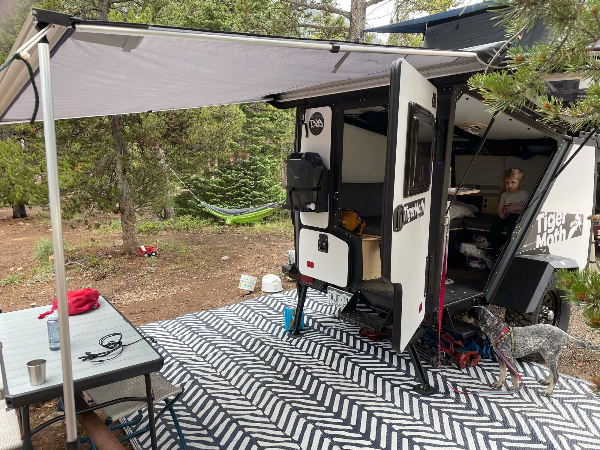 Rear view of the Adventuremoth with the kitchen closed.. TAXA Outdoors Tigermoth Camper 2021