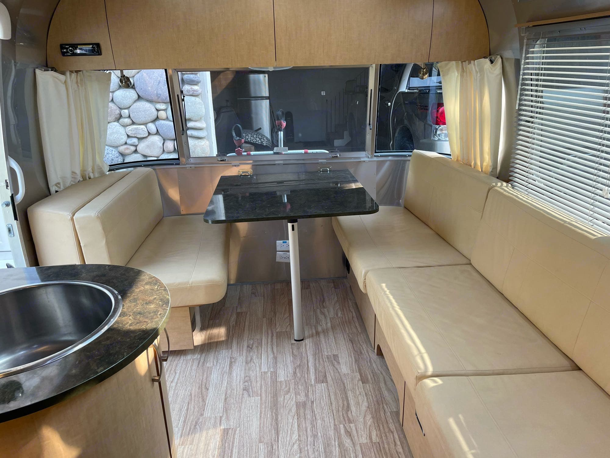 Cozy dining. Airstream Flying Cloud 2014