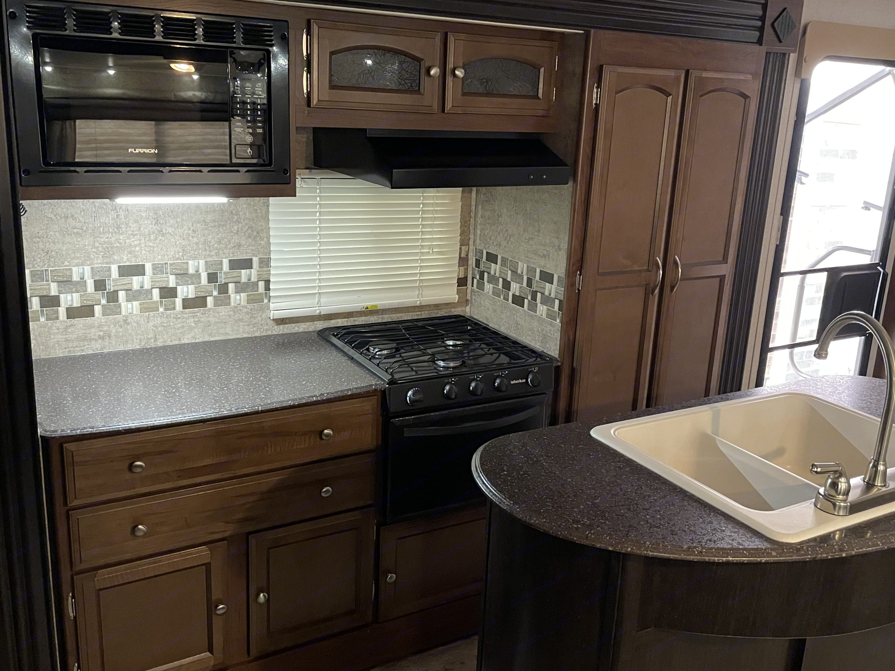With the 3–burner stove, oven, microwave, and a full compliment of utensils you can cook almost anything worth taking camping, that's not grilled. . Coachmen Freedom Express 2017